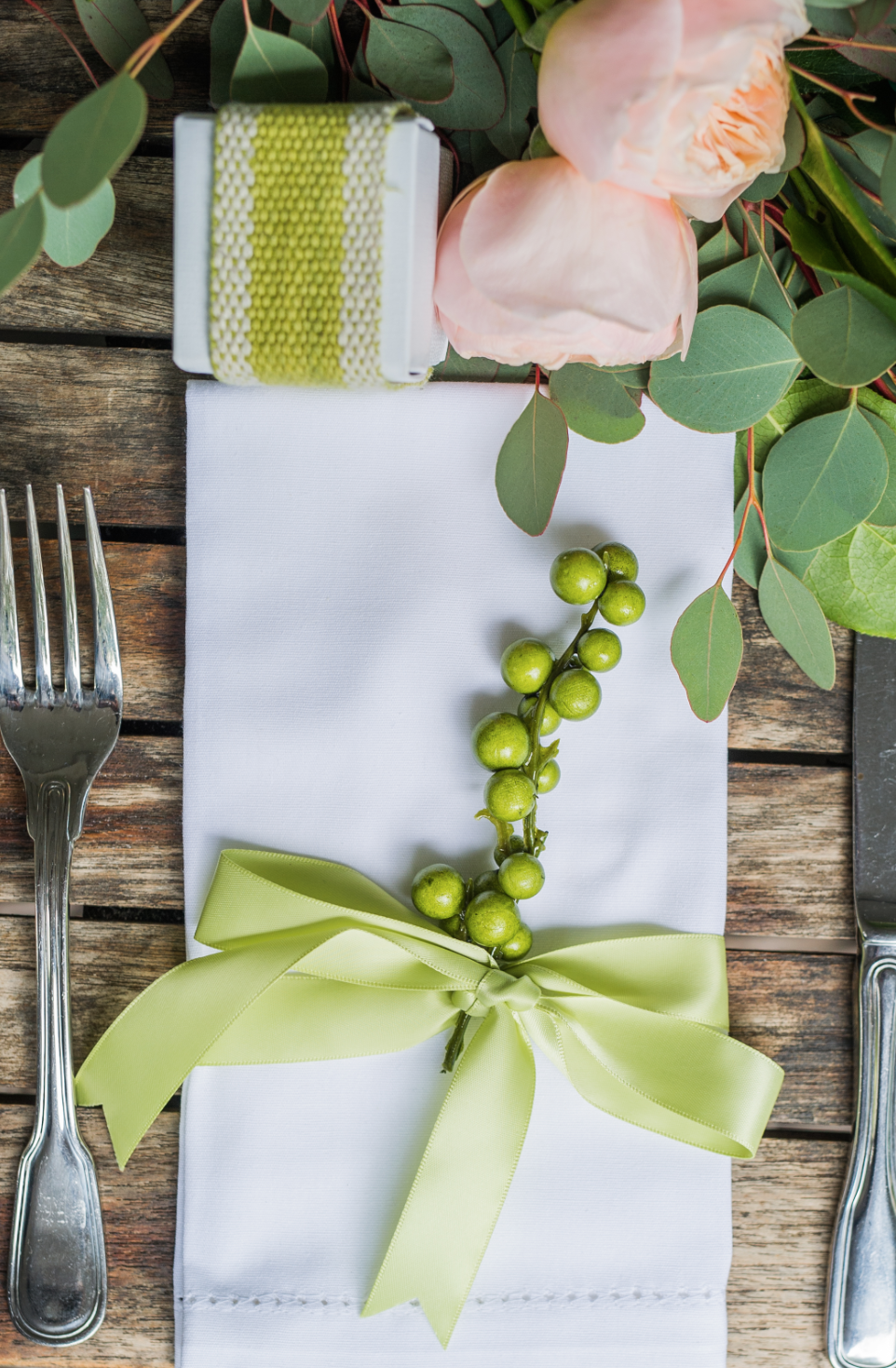 Close-up of the place settings outside.
