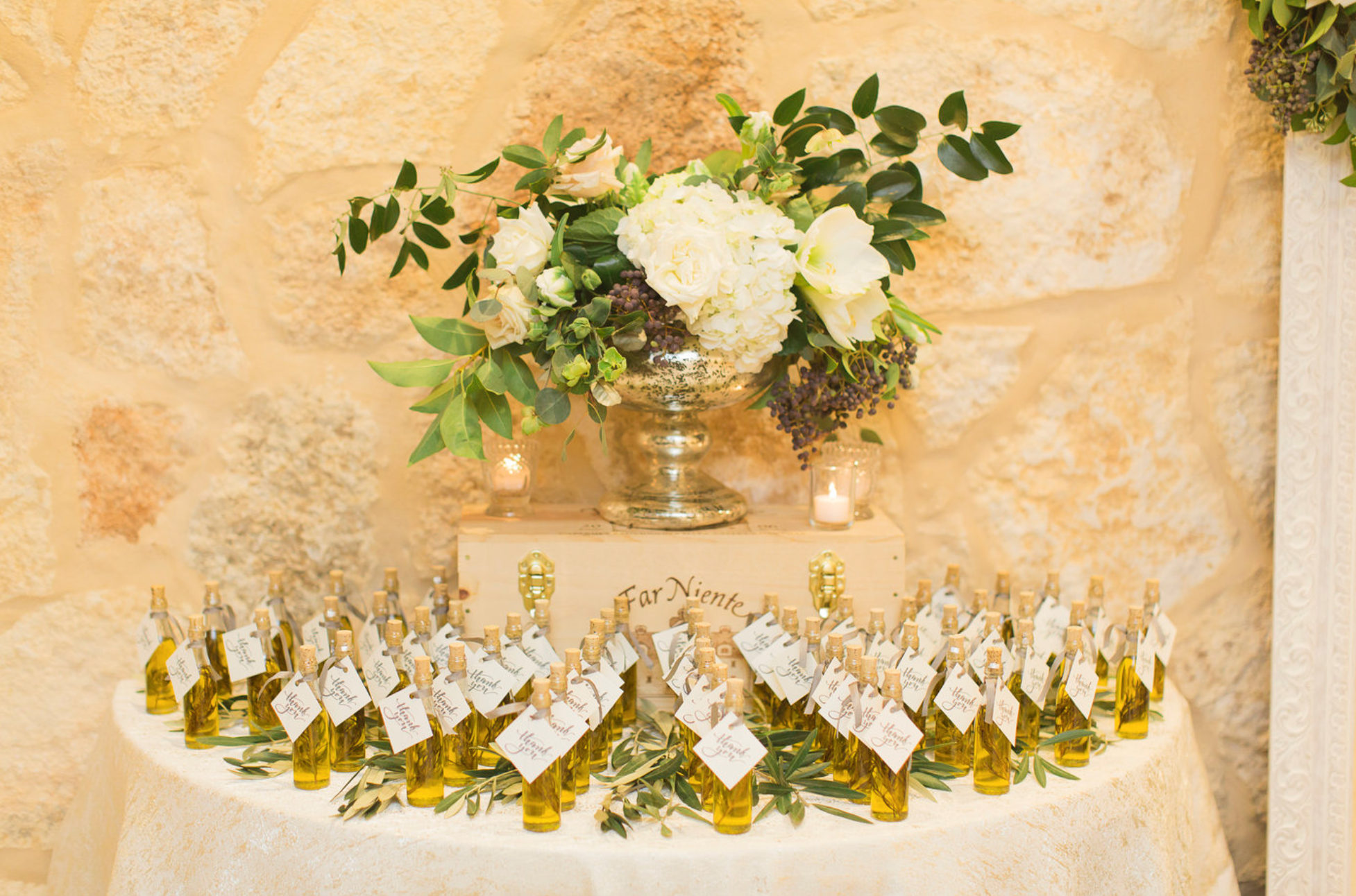 Olive Oil wedding favors for guests.