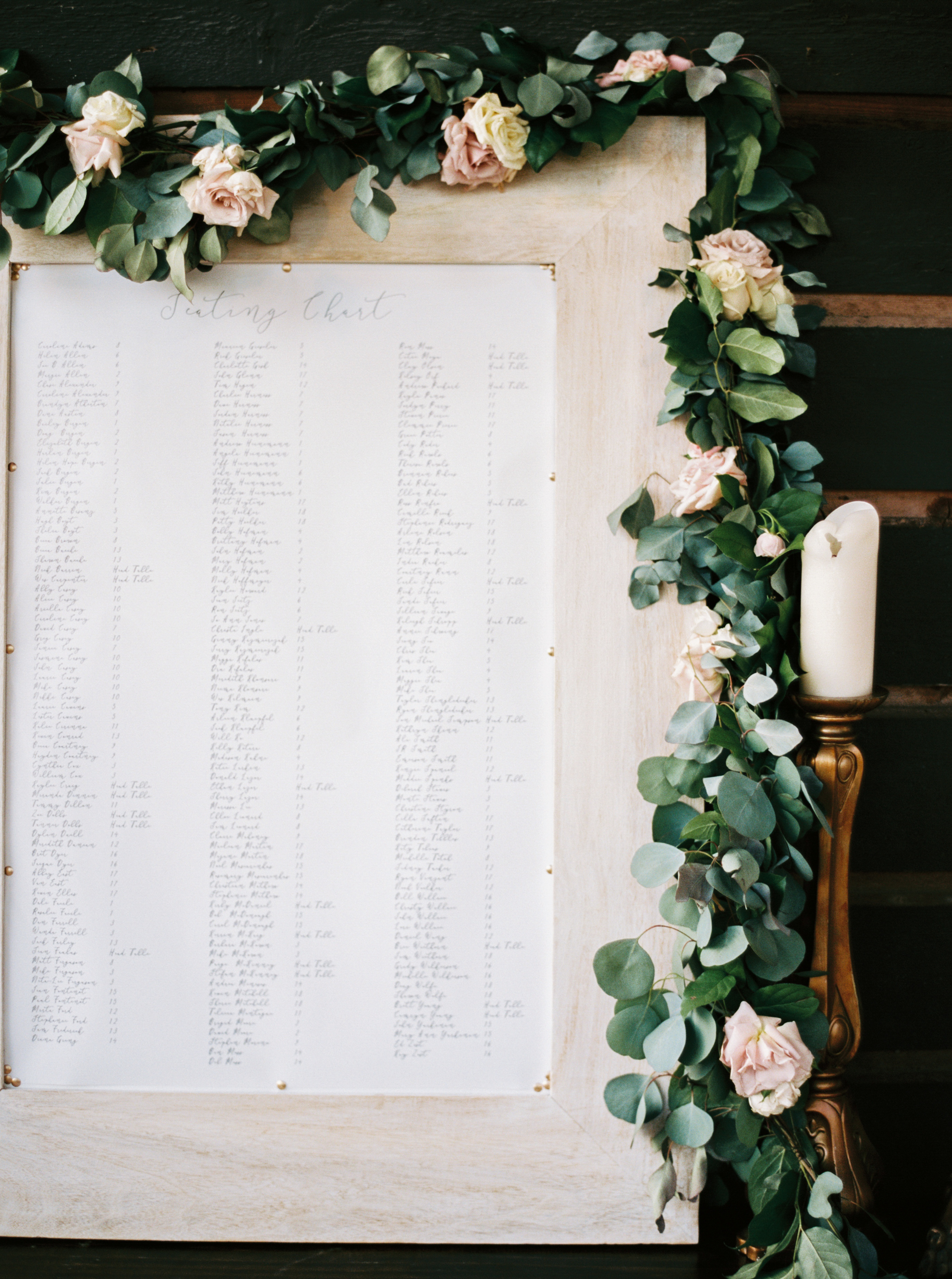 escort table with garland by maxit flower design