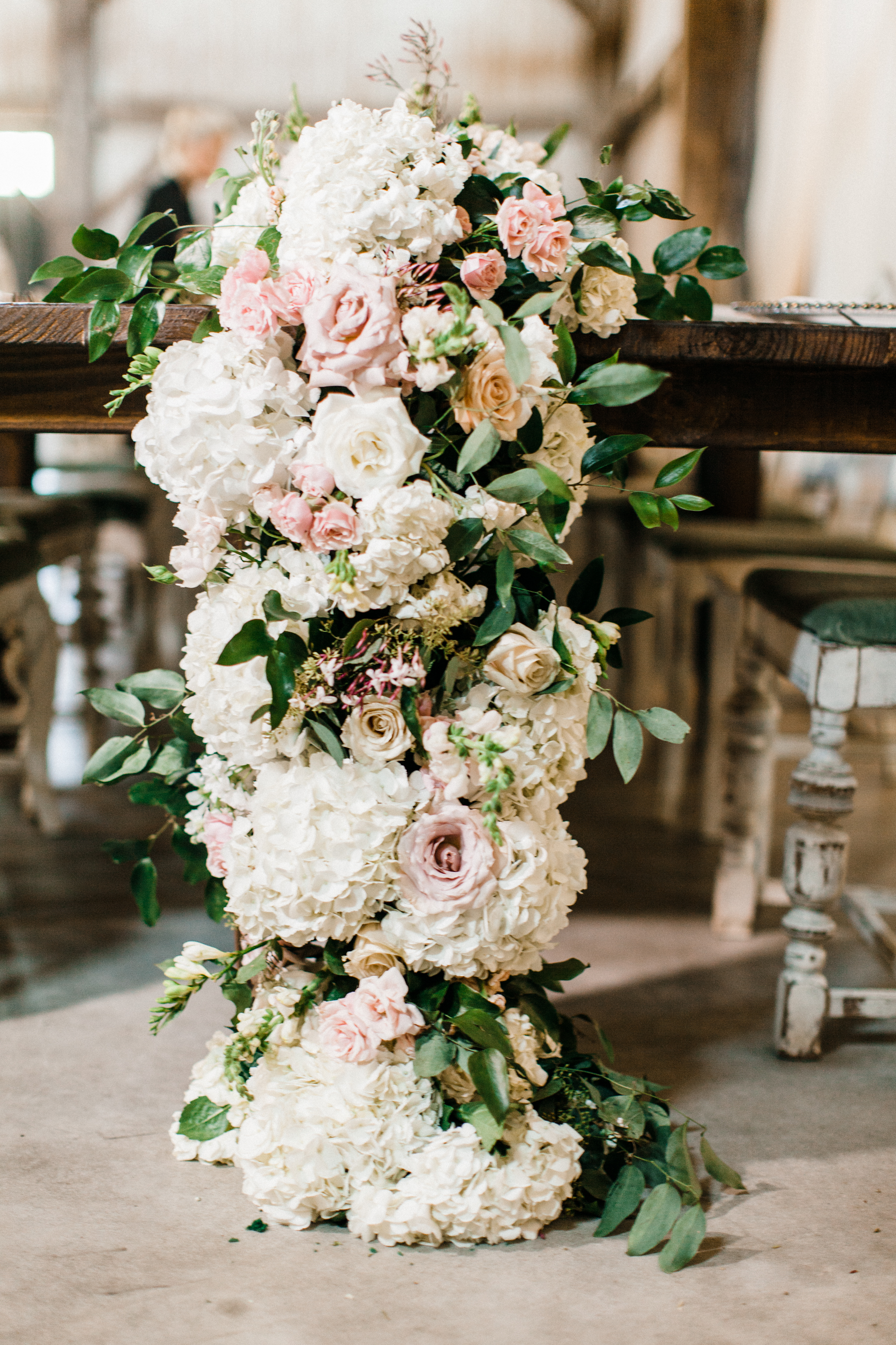large lush garland for head table by maxit flower design in houston texas