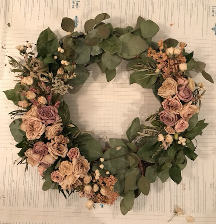 dried flower wreath featuring flowers by maxit flower design in houston, texas