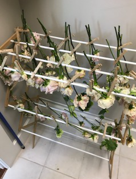 flowers drying on a rack