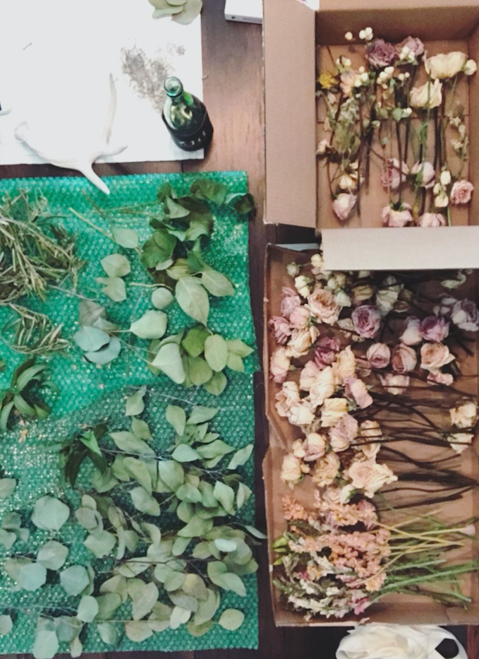 dried flowers laid out on a table