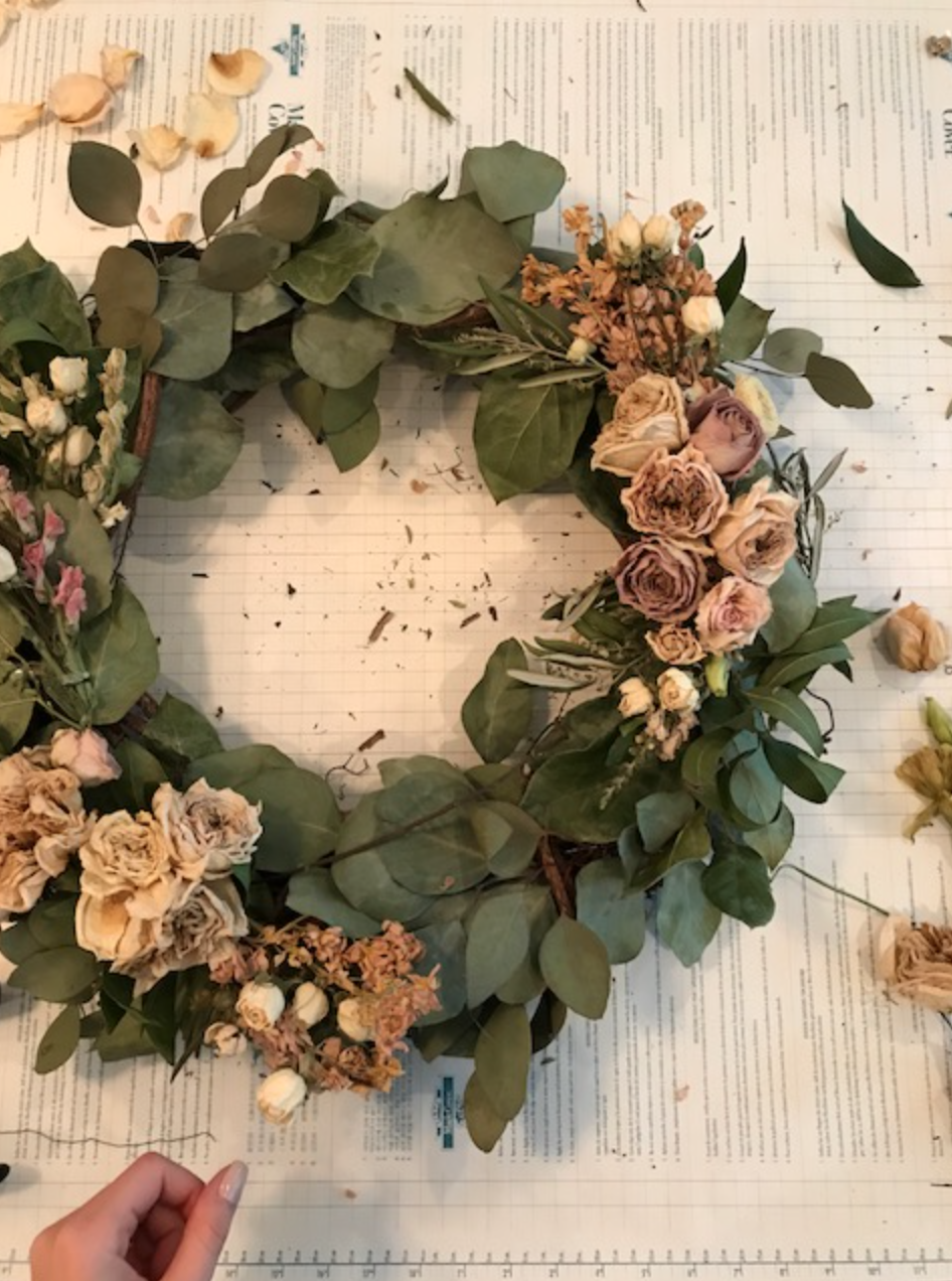 dried floral wreath using flowers by maxit flower design