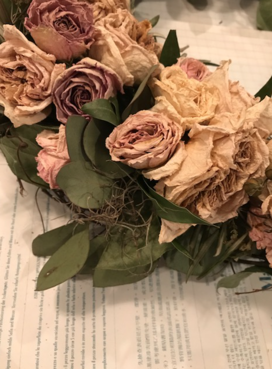 close up of dried floral wreath using flowers by maxit flower design