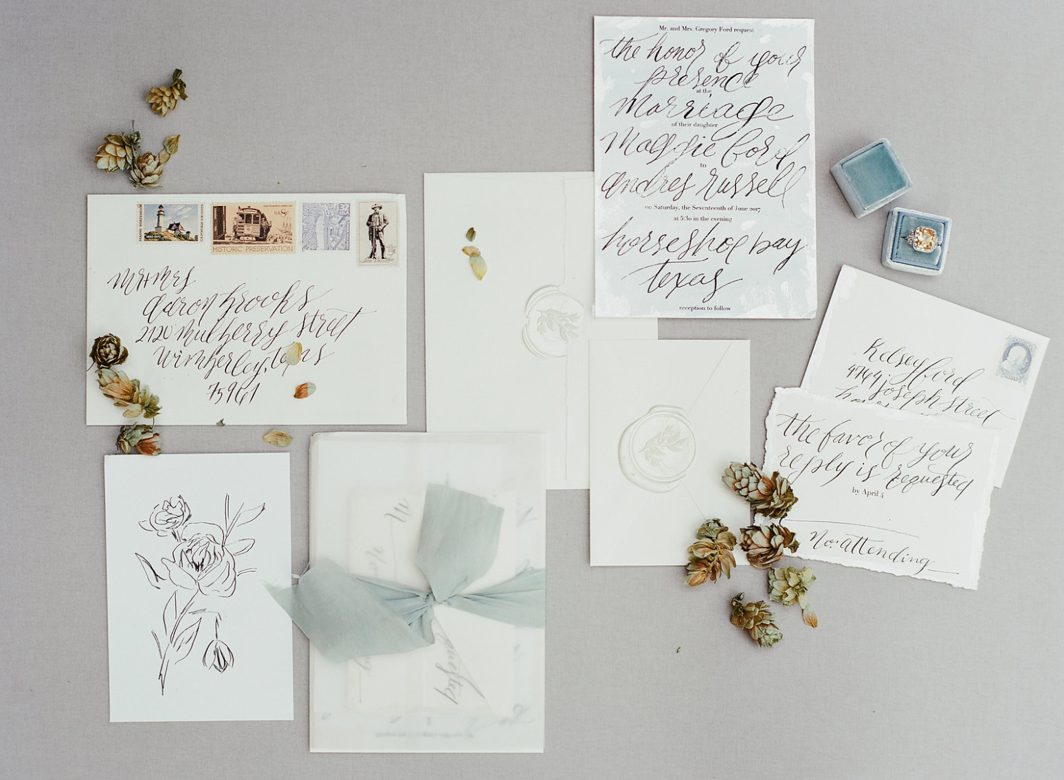 dusty-blue-beach-wedding-invite-flowers-by-maxit-flower-design
