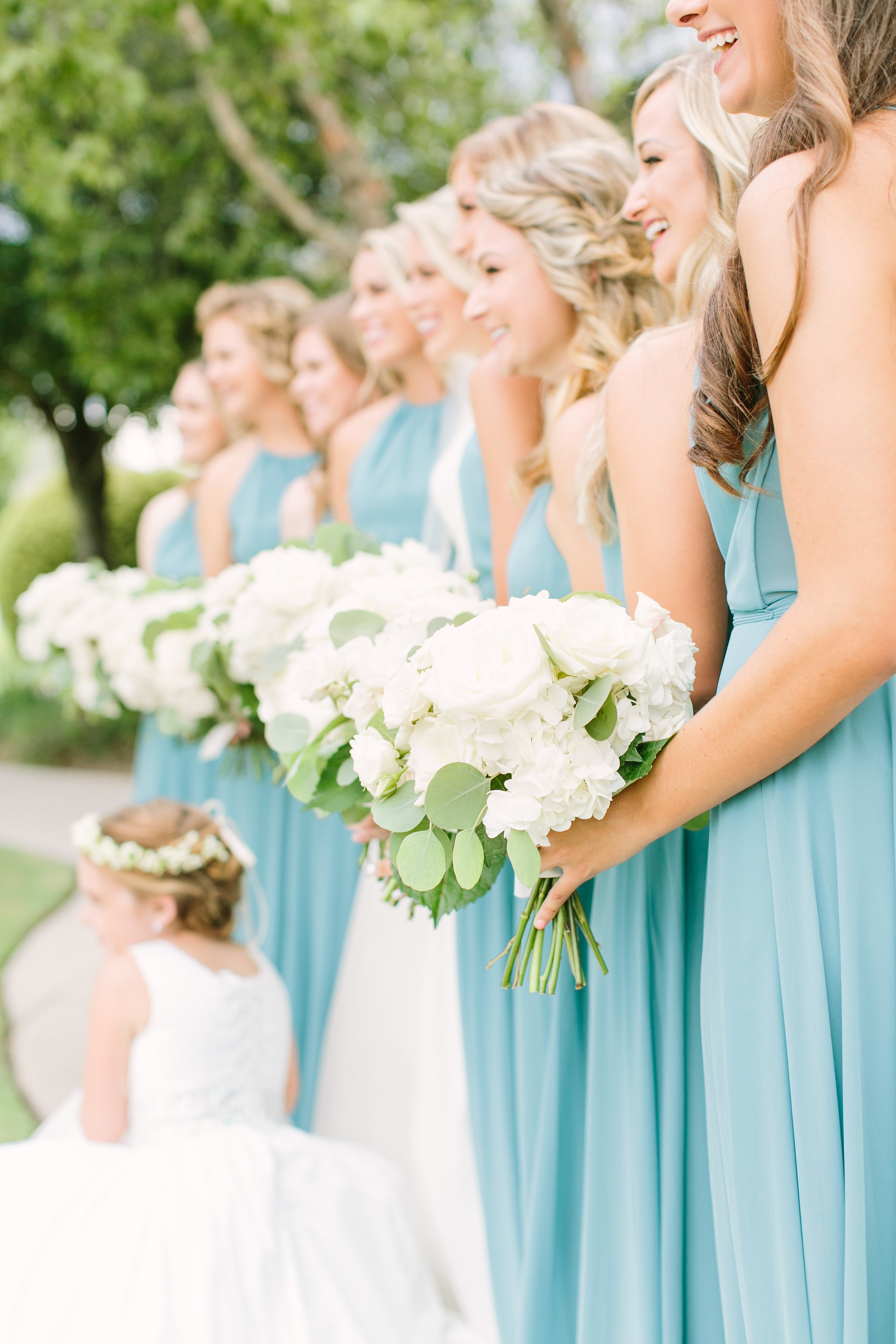 bridesmaids-teal-light-blue-dress-flower-girl-white- bouquet-floral-crown-by-maxit-flower-design-in-houston-texas
