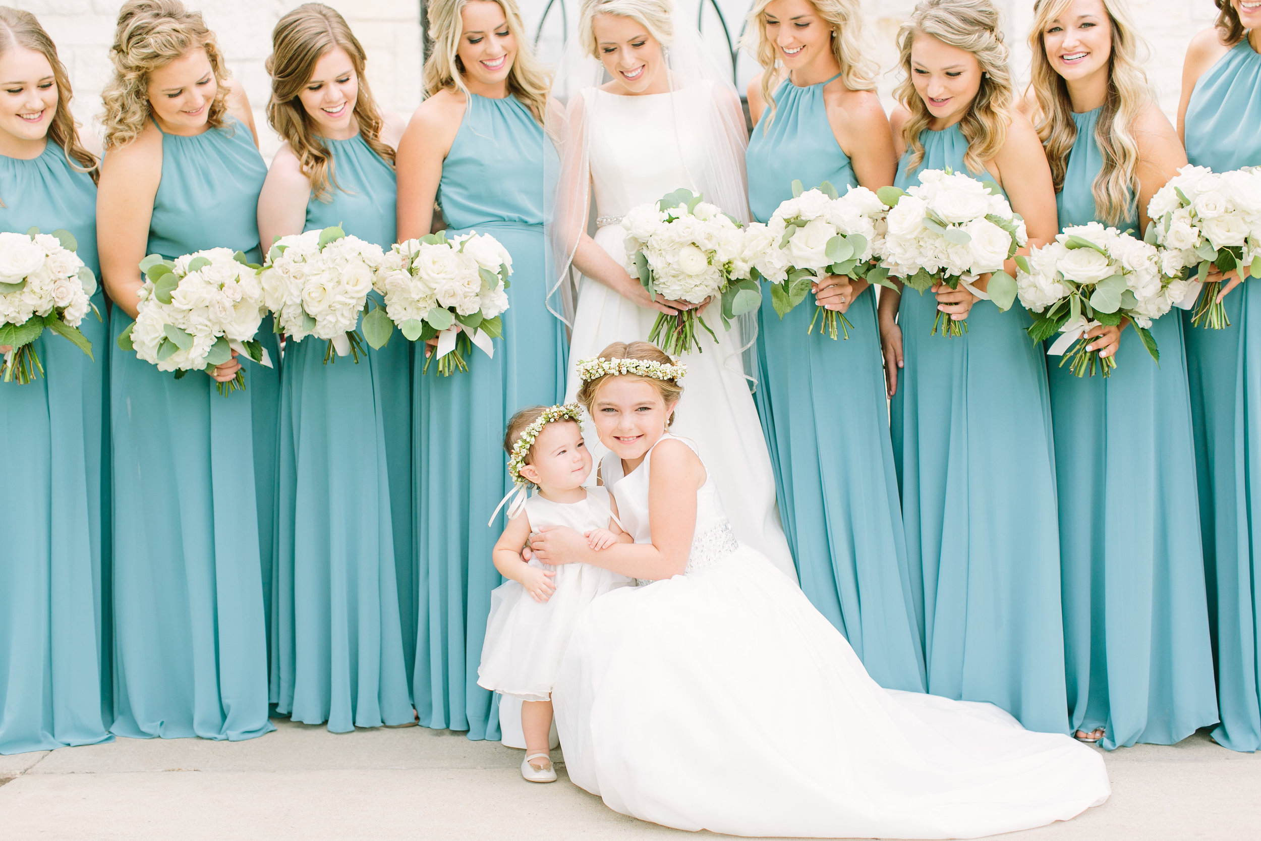 bride-bridesmaids-teal-light-blue-dress-flower-girl-floral-crown-white-bouquet-by-maxit-flower-design-in-houston-texas