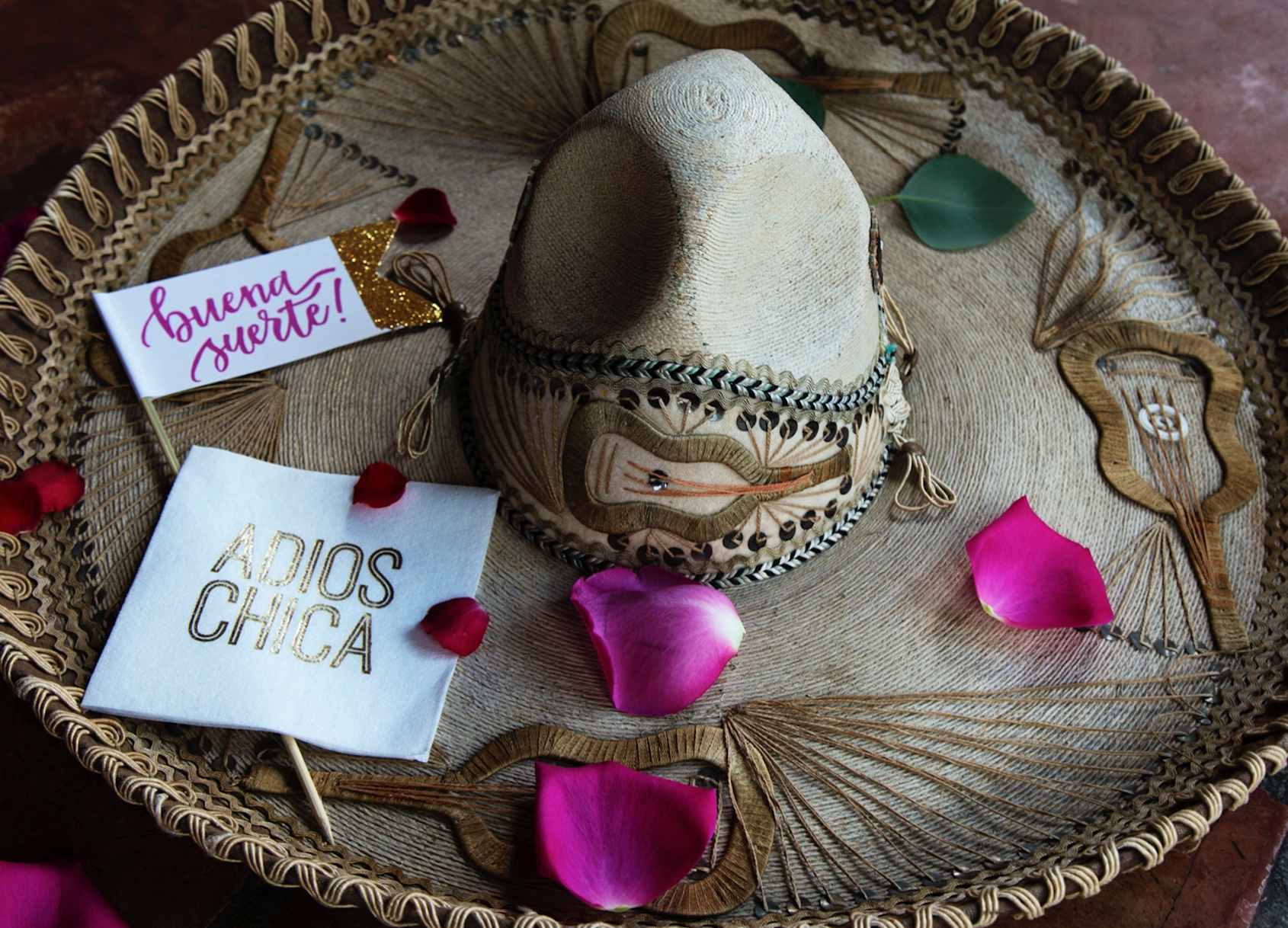 mexican-party-decor-sombrero-adios-going-away-pink-petals-resturant-maxit-flower-design-houston-texas