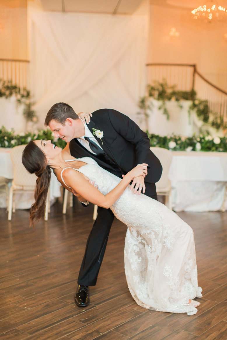 bride-groom-dip-dance-garden-white-greenery-ribbon-florals-by-maxit-flower-design-in-houston-texas