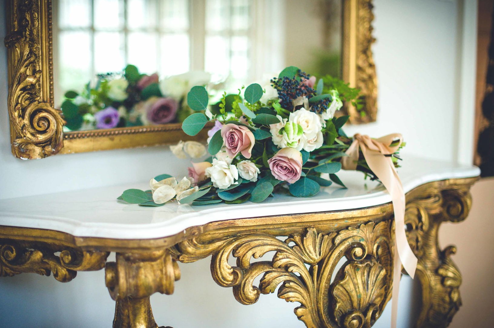 little-coterie-entertaning-party-decor-inspiration-ribbon-gilded-gold-ornate-lavender-mauve-purple-white-greenery-floral-bouquet-by-maxit-flower-design