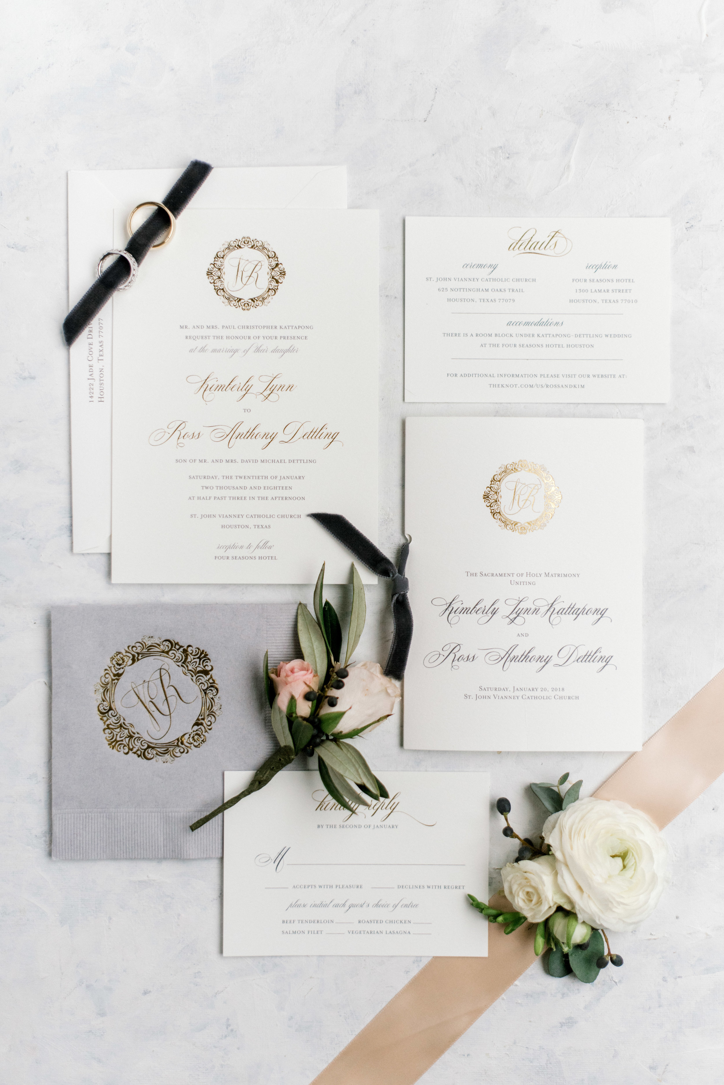 wedding-details-invitation-monogram-paper-gold-foil-photography-dana-fernandez-corsage-floral-greenery-by-maxit-flower-design-houston-texas
