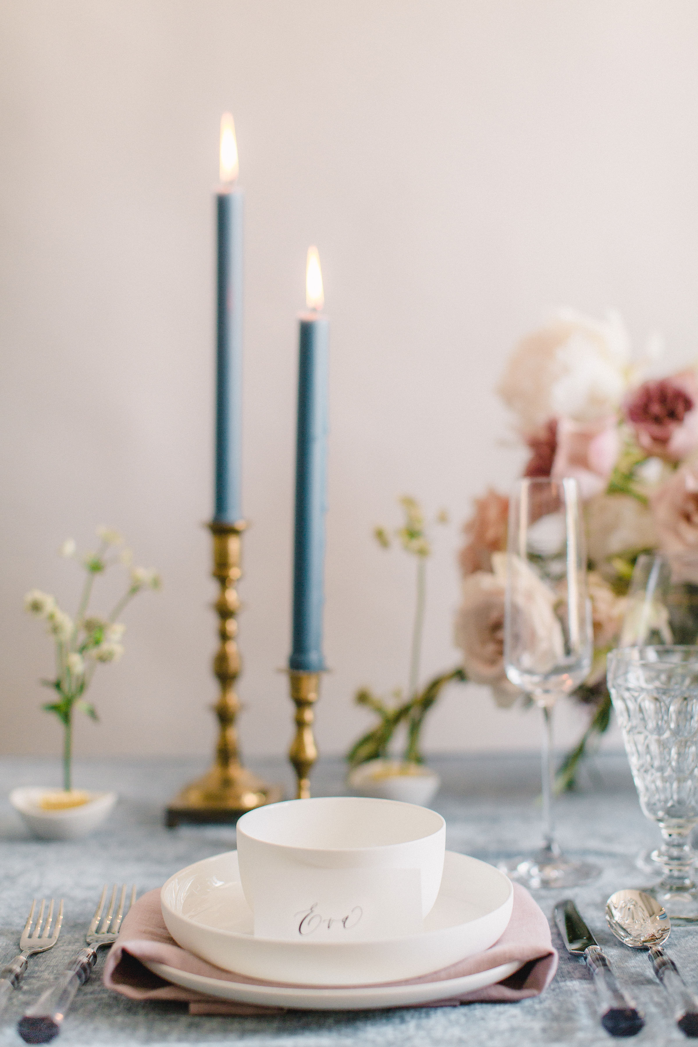 French blue and blush inspiration. Simple and clean tableware and cutlery. Floral & Design by Maxit Flower Design, Photography:  Alicia Yarrish . Houston, TX Wedding Vendors.