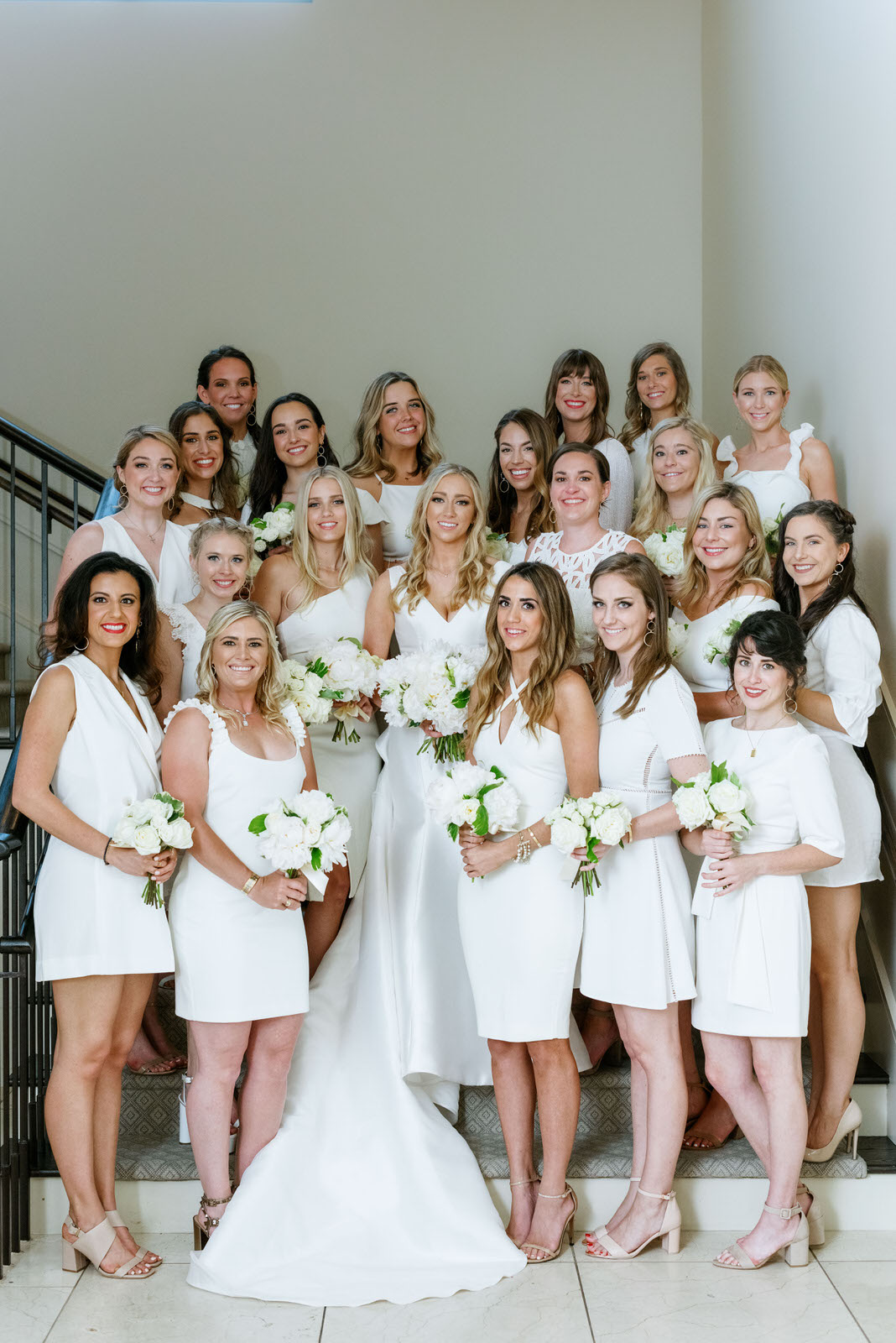 All white bridal party. Bride and bridesmaids. Photography:  Josh & Dana Fernandez , Event Design & Floral:  Maxit Flower Design , Event Planner: Emily Moise,  Keely Thorne Events