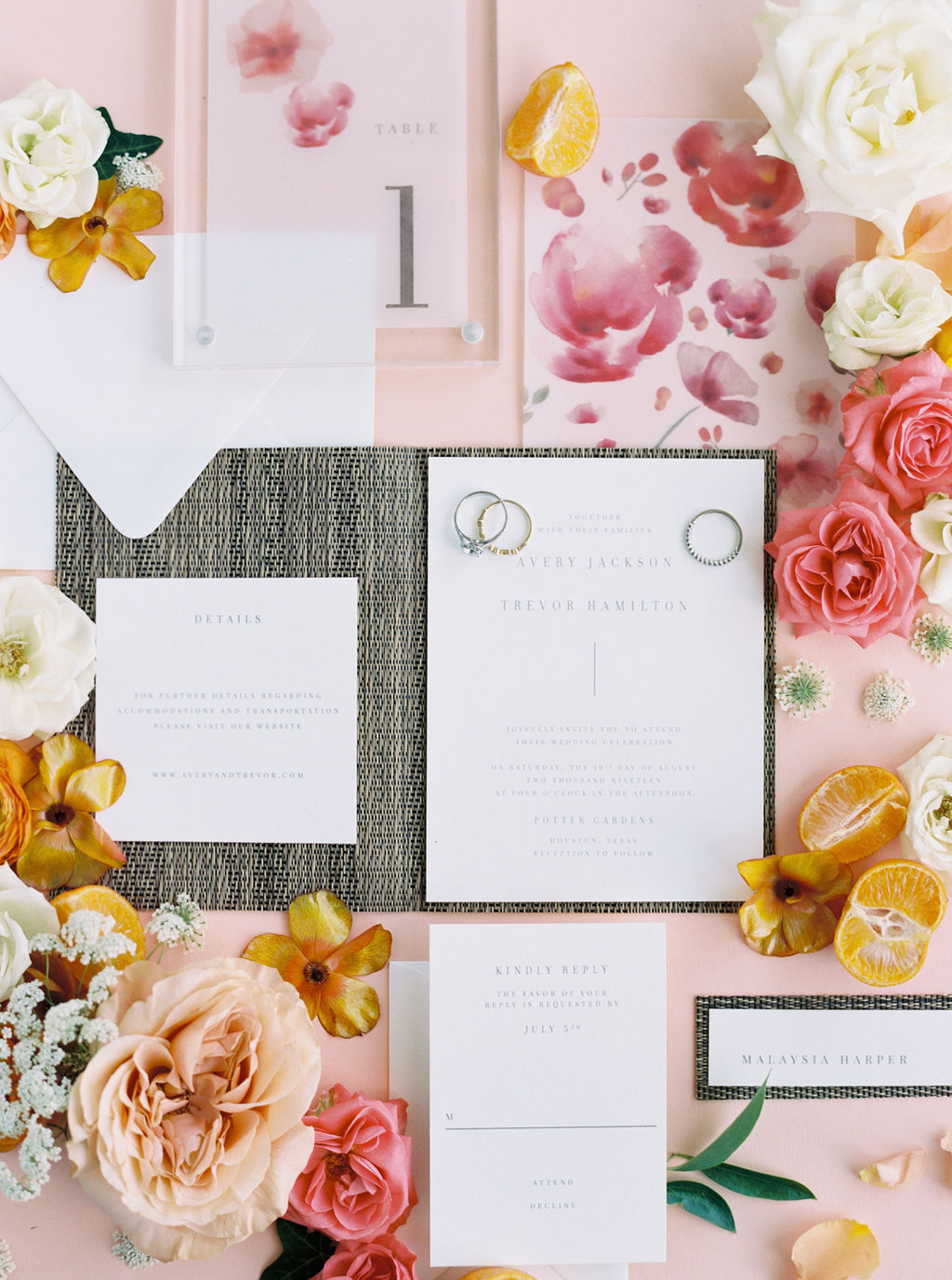 Houston, TX. Floral & Event Design: Maxit Flower Design, Photography:  Courtney Leigh Photography  Paper Product:  Memory Lane Paperie