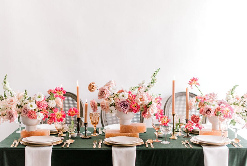 Salt blocks with green velvet linen. Covered with modern colorful arrangements and cane back louis chairs. Houston, TX Wedding and Event Flower and Event Designer. Maxit Flower Design, Event Planner:  Unveiled Bridal,  Retnals:  Archive , Linen:  EBInc.