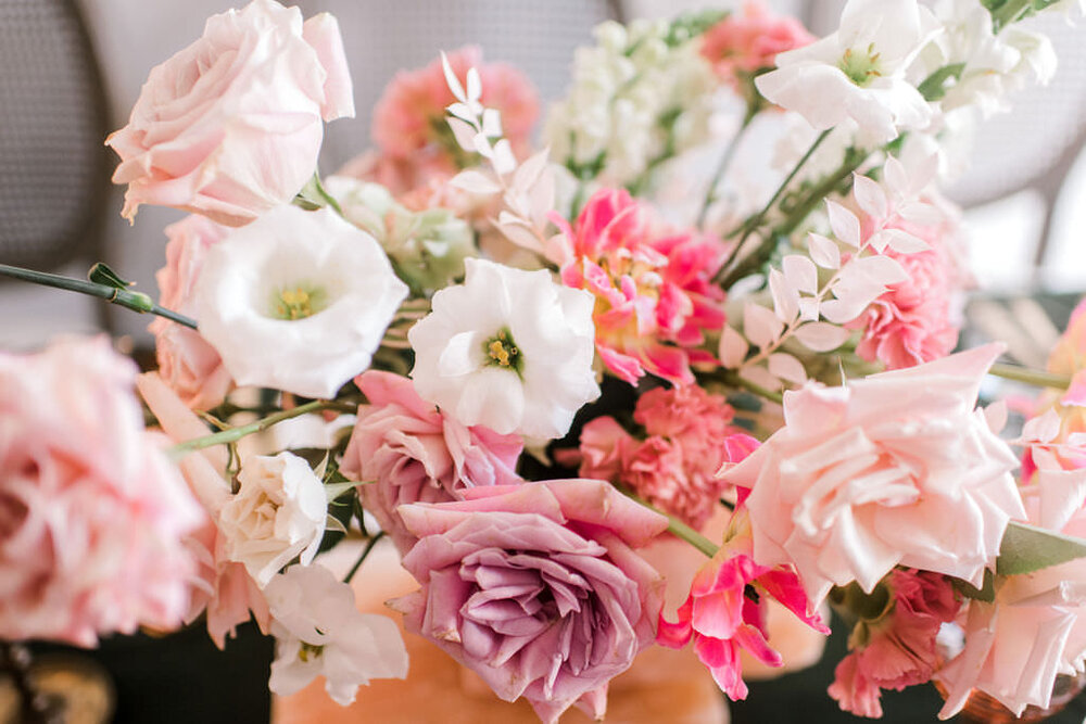 Garden style flowers, lisianthus, carnations, bleached ruscus, spray roses. Houston, TX Wedding and Event Flower and Event Designer. Maxit Flower Design, Event Planner:  Unveiled Bridal,  Retnals:  Archive , Linen:  EBInc.