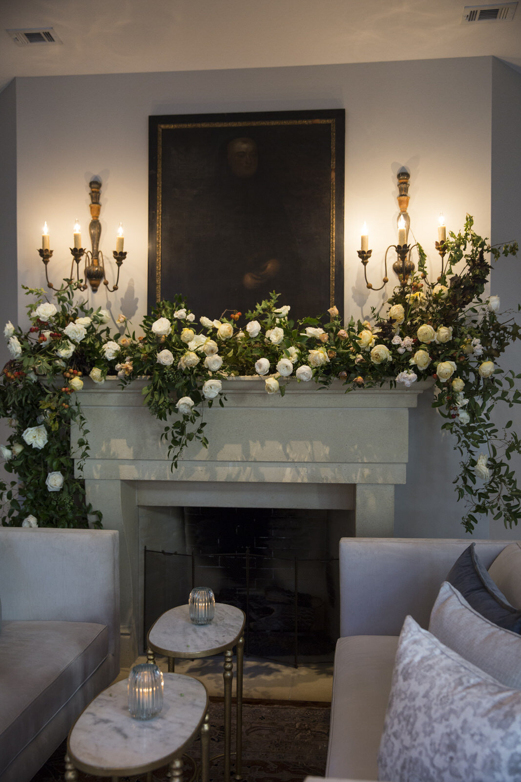 Fireplace installation with Rentals provided by Events in Bloom. Houston, Texas wedding with Jennifer Kaldis of Keely Thorne Events. Maxit Flower Design.