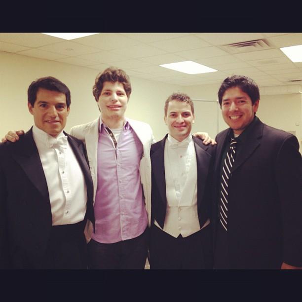Me, Maestro Harth-Bedoya, Maestro Andrés Franco, and violinist Augustin Hadelich! #fortworthsymphony #basshall #fwso