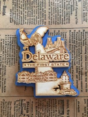 Laser Cut Wood Delaware Magnet