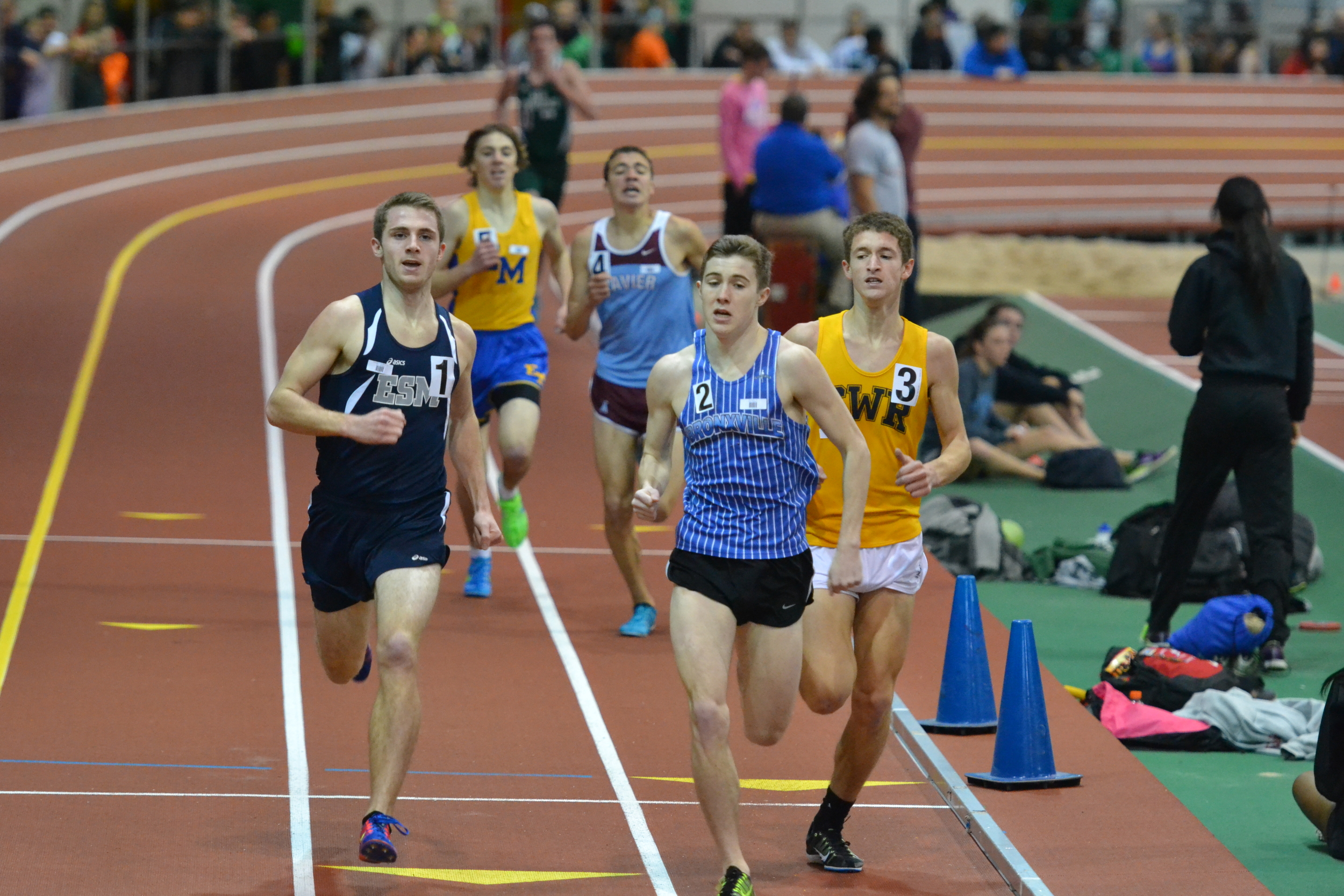 Johnny Flannery comes down the homestretch at The New Balance Track & Field Center at The Armory. Photo/Kyle Brazeil