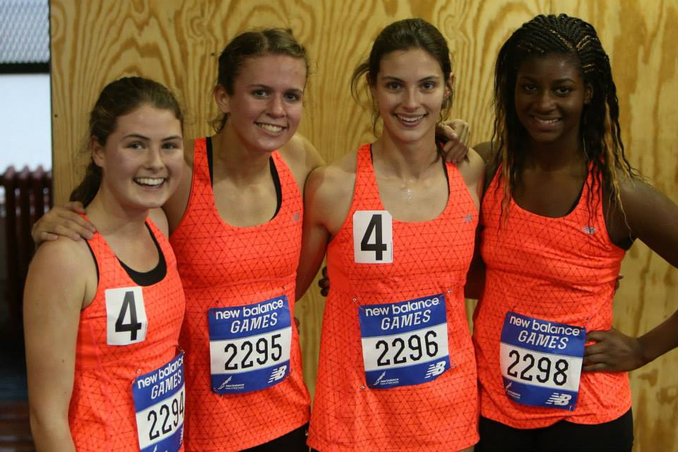 Lauren Chapey, far left, with her Mamaroneck High School teammates after the New Balance Games Invitational Distance Medley Relay.