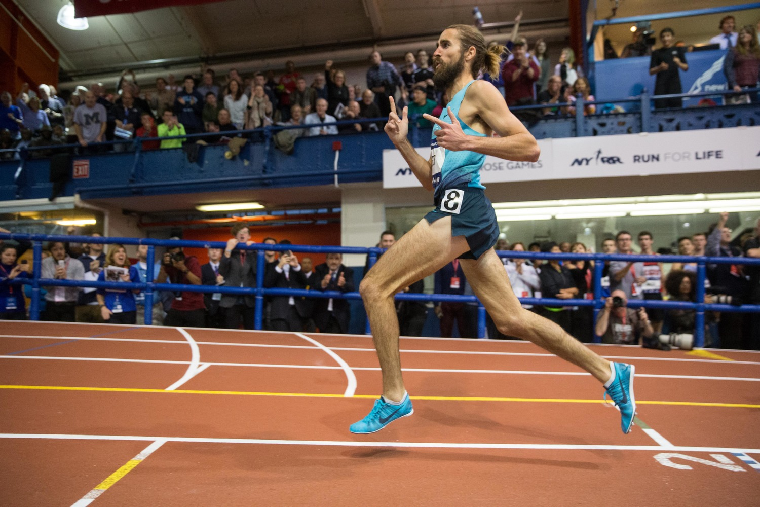 Will Leer celebrates after claiming the NYRR Wanamaker Mile win at the NYRR Millrose Games. Photo: Ross Dettman for ArmoryTrack