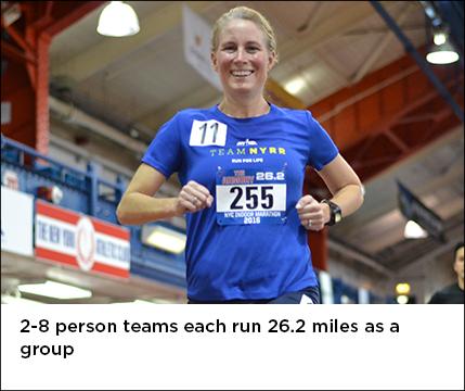 2-8 person teams each run 26.2 miles as a group