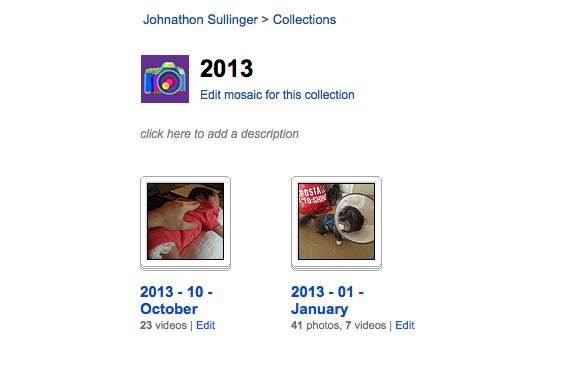 Flickr Sets by month