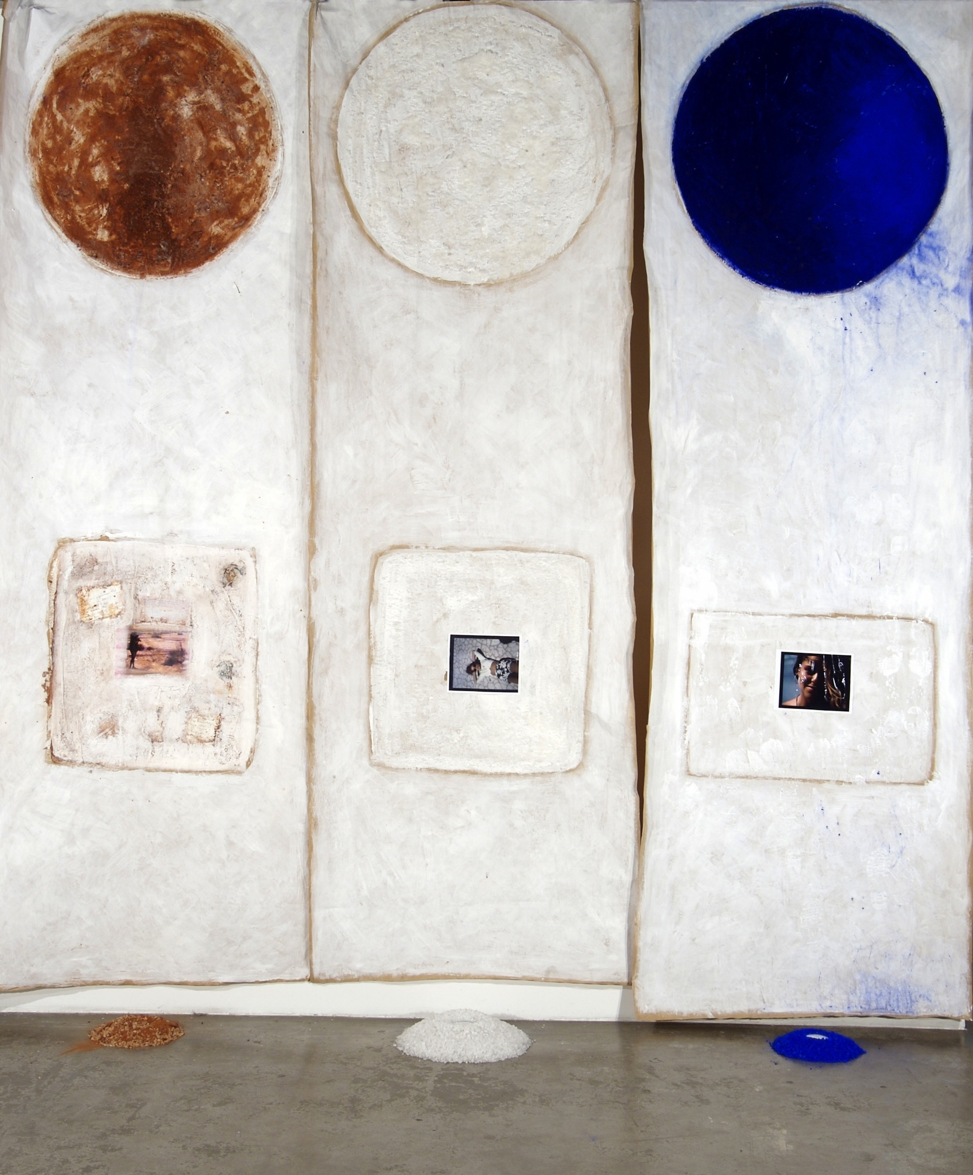 Luigia Martelloni, 2010,  The Journey: Sea, Earth, Sky,  Mix media on paper, dirt, salt, pigments, photograph, mirrors 144 x 48 inches each.jpg
