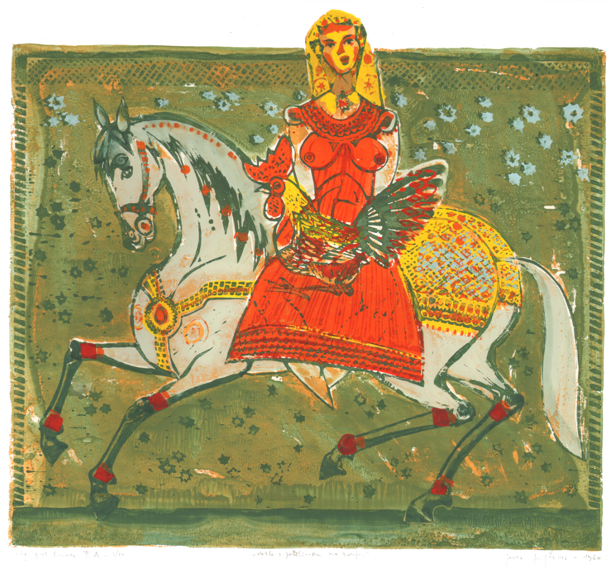 Woman with Rooster on a Horse , 1980, 50 x 45 cm; 10 prints series