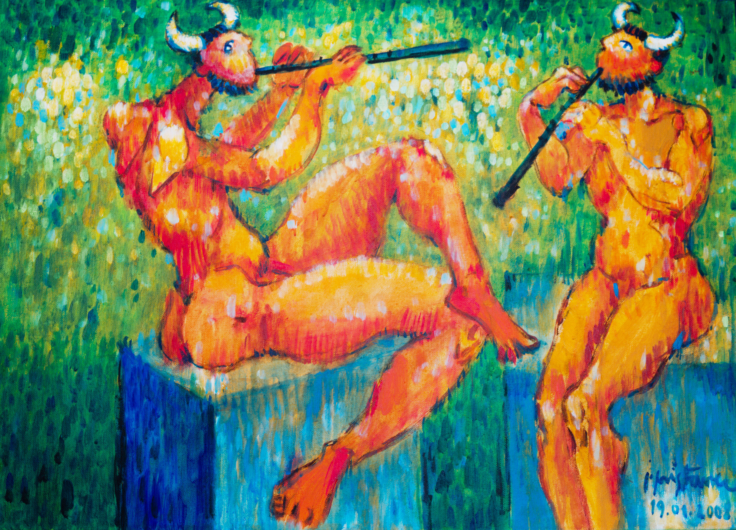 Two satyrs -  2008 - acryl on canvas  3 x 50 x 70 cm; 19.6 x 27.5 inch