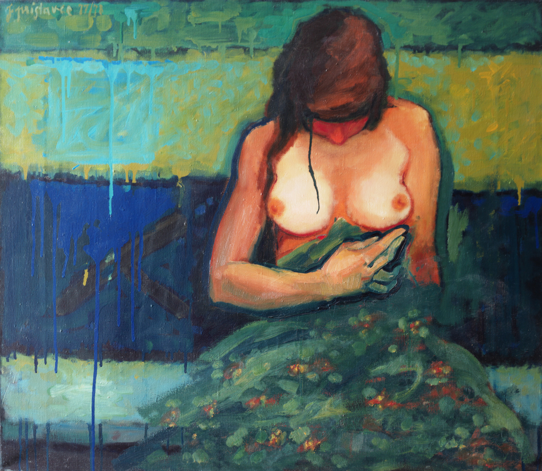 In Bed  / 1978 / oil on canvas / 80 x 70 cm