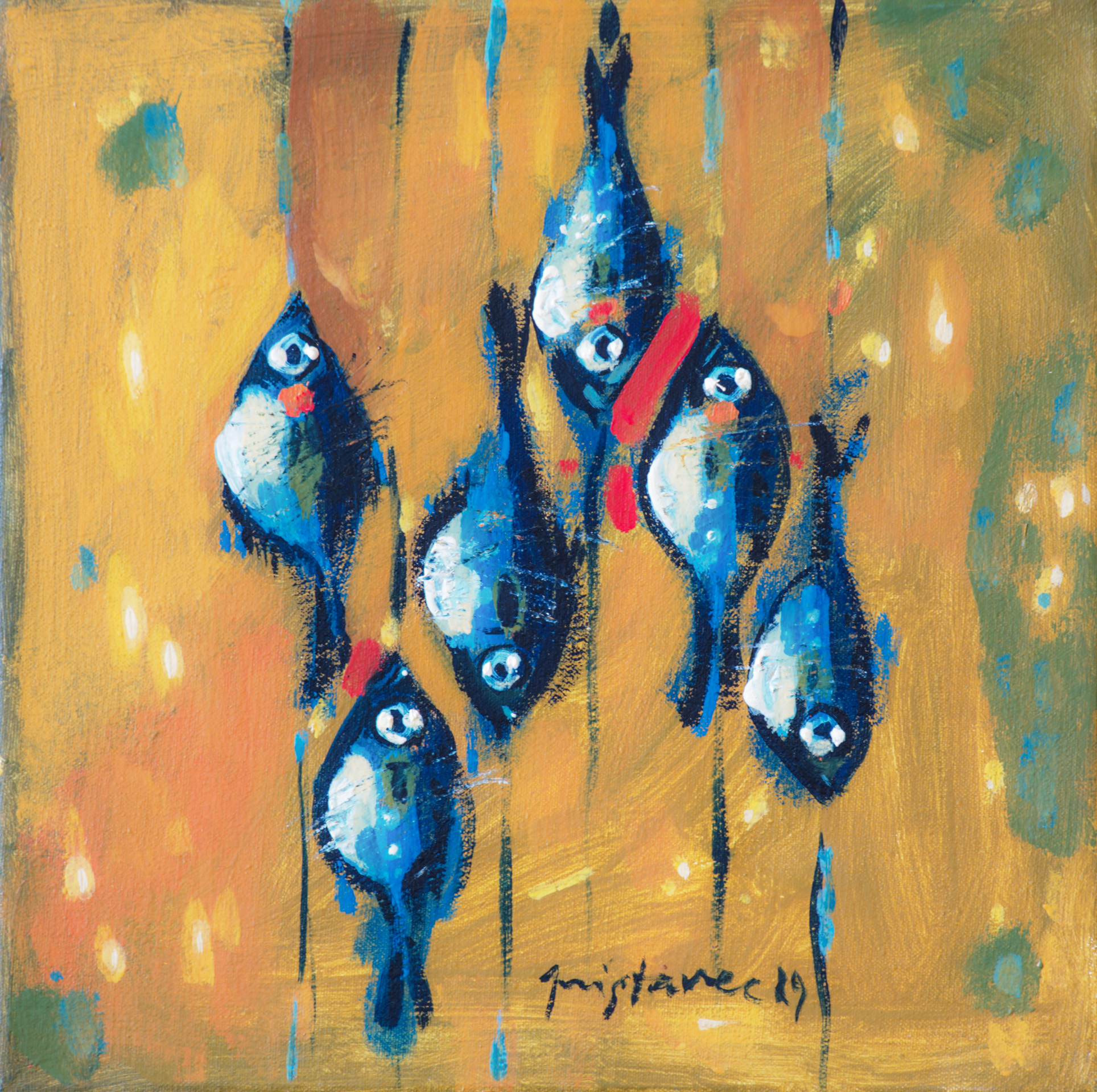 Fishes on Table  / 1989 / oil on canvas / 25 x 25 cm
