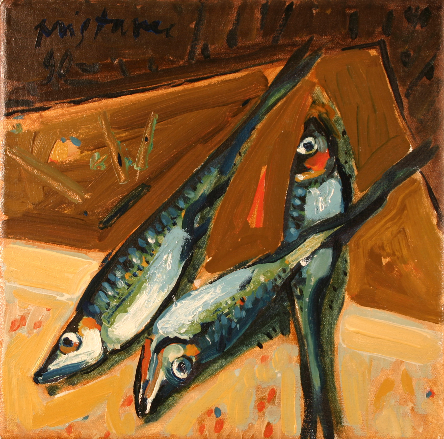 Fishes on Table  / 1996 / oil on canvas / 30 x 30 cm