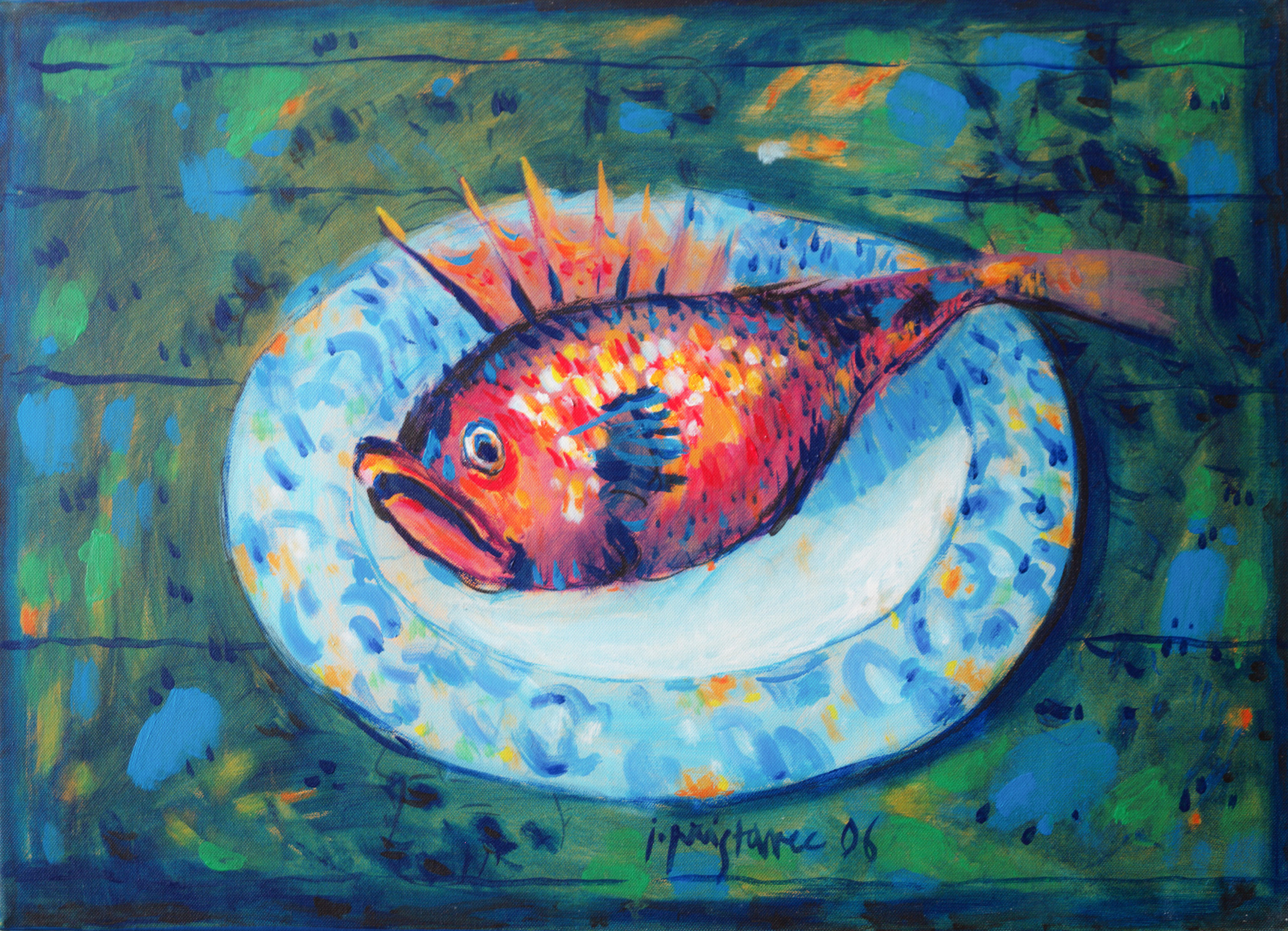 Fish on Plate  / 2006 / oil on canvas / 70 x 50 cm