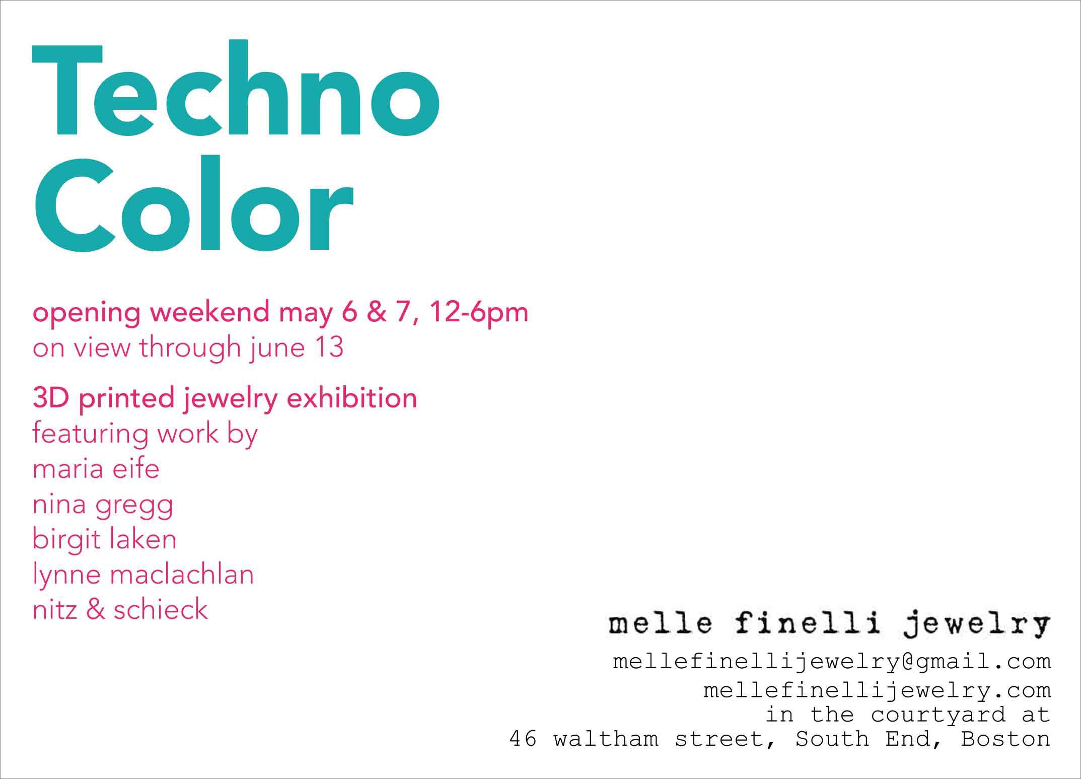 Exhibition postcard (back) for Melle Finelli Studio, 2017