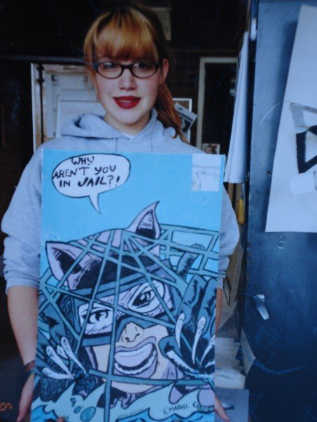 Here is Young Sophie, in 2002. She has made this Marvel drawing.