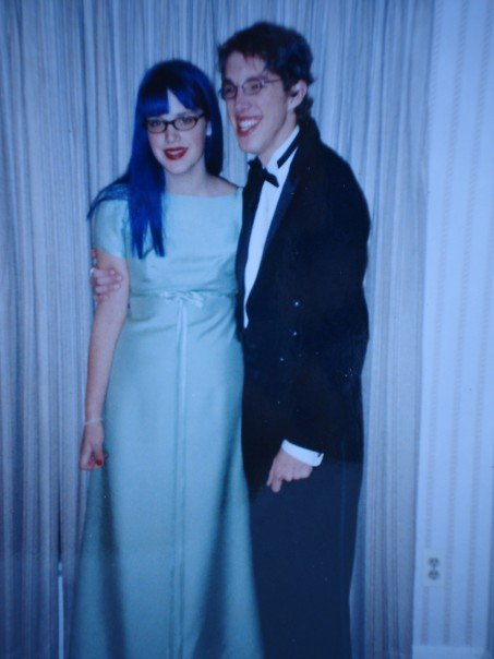 "Here is how my hair looked for winter formal sophomore year. COOL! (And yes, that is a bridesmaid's dress my mom wore in the 1960s that I found in the attic and thought was really ""retro."")"