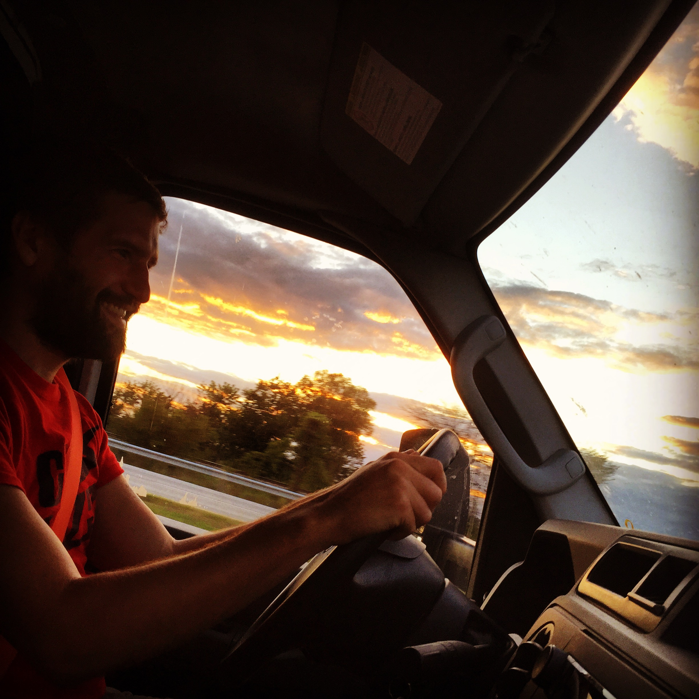Here's Luke driving from New Orleans to Chicago. We were in Illinois at this point. Corn was everywhere. Corn is so wonderfully non-judgmental.