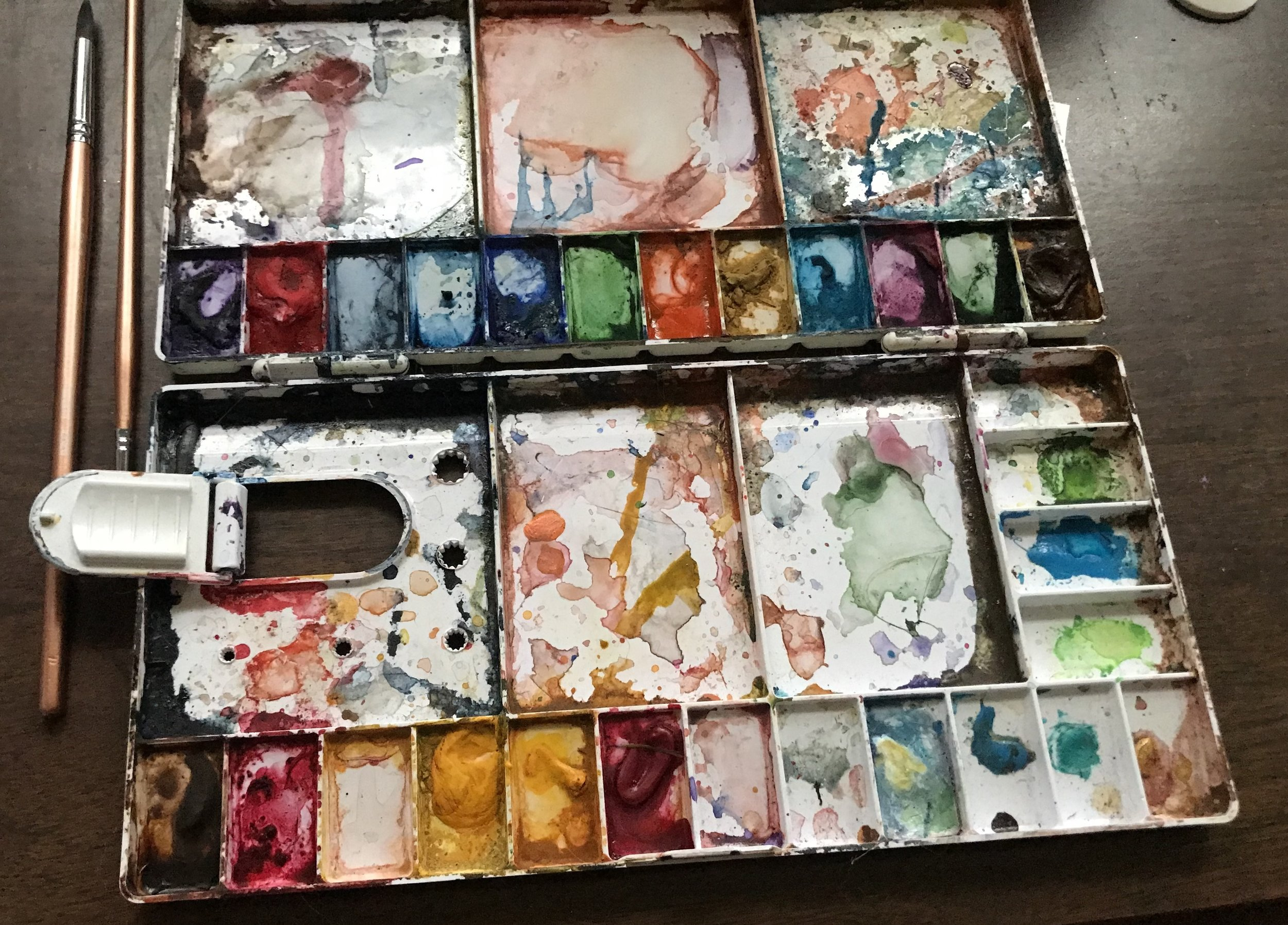 This was an empty palette, and I fill it with my favorite colors from little paint tubes. I have included an image at the top listing the colors that I choose. I would say just two hints: start with transparent watercolors over opaque ones (so, forget all the cadmiums); and you have no need for black.