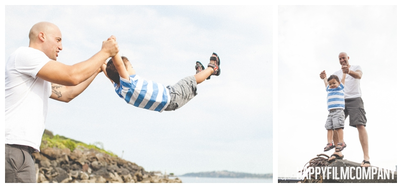 father son photos throwing in air  - Alki Beach —Seattle Family Photos - the Happy Film Company