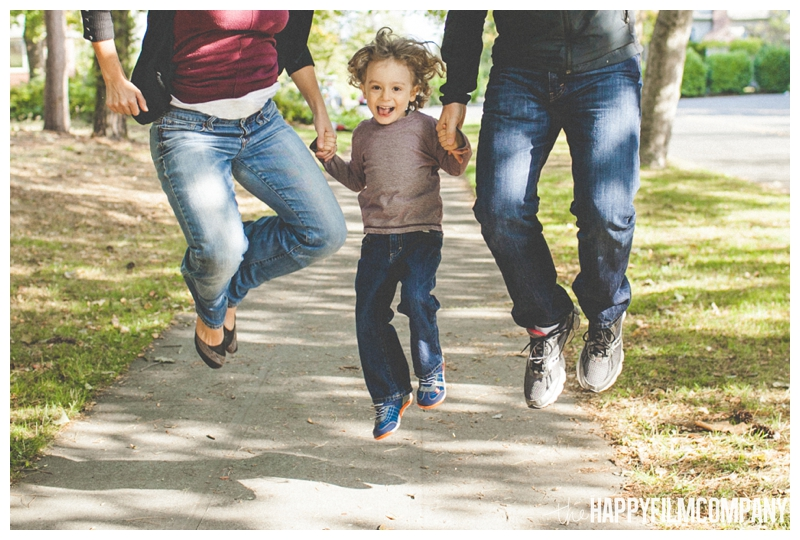family photos jumping  - the Happy Film Company - West Seattle Family Photography