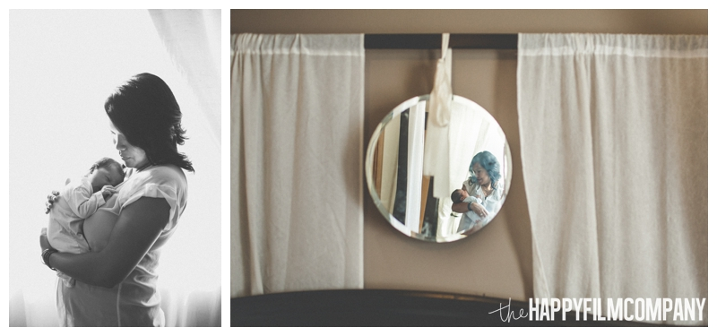 mother baby portrait reflection in mirror  - Natural Seattle Newborn Photography - the Happy Film Company