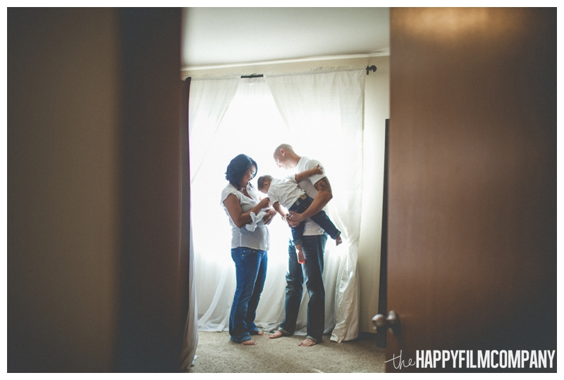 backlit family portrait window  - Natural Seattle Newborn Photography - the Happy Film Company