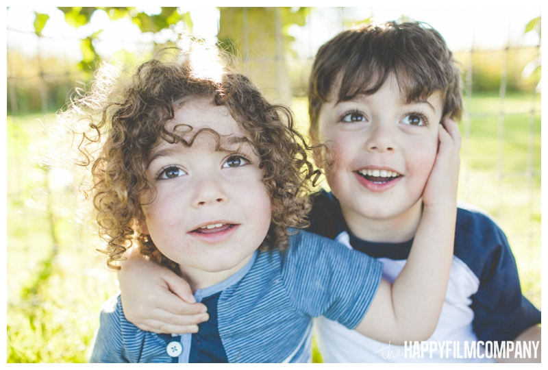 two brothers portraits  - Seattle Family Apple Picking Photo Shoot - the Happy Film Company