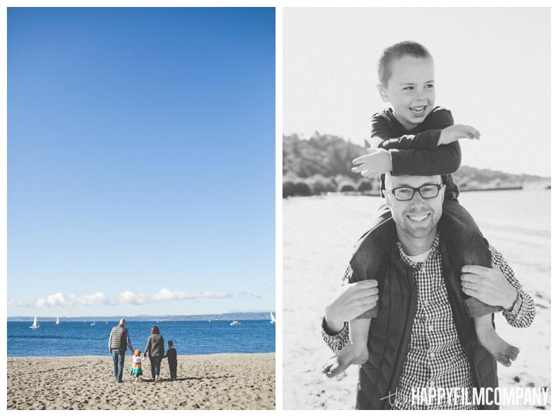 family walking on beach Seattle Family Photographer - Golden Gardens Beach Walk - the Happy Film Company