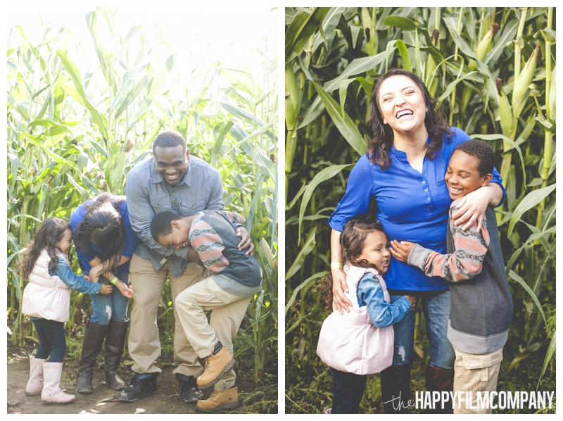 laughing family photo happy portraits  - Seattle Family Holiday Photos - The Happy Film Company - Seattle Family Portraits in Corn Maze