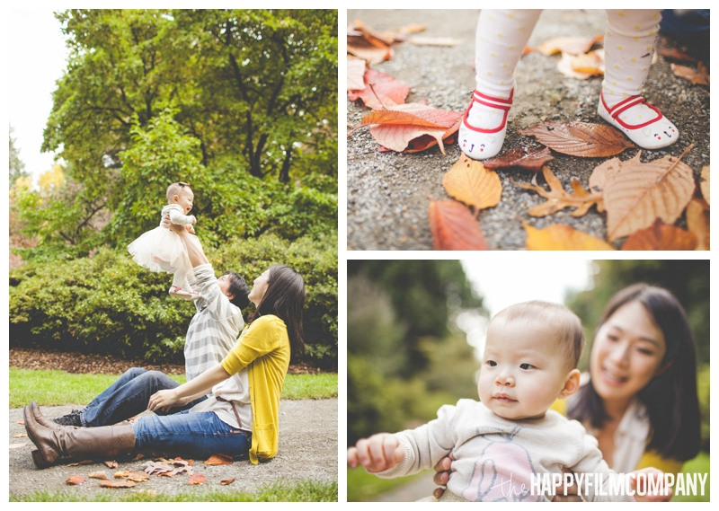 baby playing in leaves with parents  - Colorful Leaves Seattle Autumn Family Photos at Washington Park Arboretum - the Happy Film Company