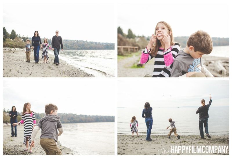 family walking on beach and throwing stones – Playful Golden Gardens Beach Walk — Seattle Family Holiday Pictures